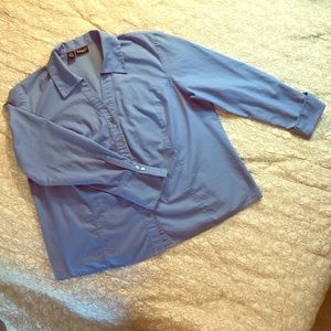 Woman's blue button down top